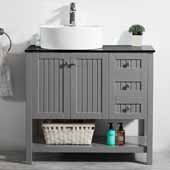 Modena 36'' Single Sink Vanity Set in Grey with Glass Countertop and White Vessel Sink, 36''W x 18''D x 31-11/16''H