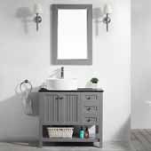 Modena 36'' Single Sink Vanity Set in Grey with Glass Countertop and White Vessel Sink, With Mirror, 36''W x 18''D x 31-11/16''H