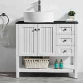 Modena 36'' Single Sink Vanity Set in White with Glass Countertop and White Vessel Sink, 36''W x 18''D x 31-11/16''H
