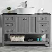 Modena 48'' Single Sink Vanity Set in Grey with Glass Countertop and White Vessel Sink, 48''W x 20''D x 31-11/16''H