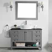 Modena 48'' Single Sink Vanity Set in Grey with Glass Countertop and White Vessel Sink, With Mirror, 48''W x 20''D x 31-11/16''H