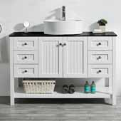 Modena 48'' Single Sink Vanity Set in White with Glass Countertop and White Vessel Sink, 48''W x 20''D x 31-11/16''H