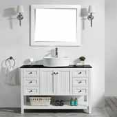 Modena 48'' Single Sink Vanity Set in White with Glass Countertop and White Vessel Sink, With Mirror, 48''W x 20''D x 31-11/16''H