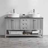 Modena 60'' Double Sink Vanity Set in Grey with Glass Countertop and White Vessel Sink, 60''W x 20''D x 31-11/16''H