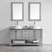 Modena 60'' Double Sink Vanity Set in Grey with Glass Countertop and White Vessel Sink, With Mirror, 60''W x 20''D x 31-11/16''H