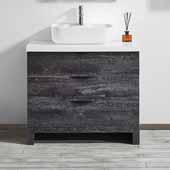 Spencer 36'' Single Sink Vanity Set in Suede Elegant Grey with Fine White Quartz Stone, 36''W x 19-11/16''D x 31-1/8''H