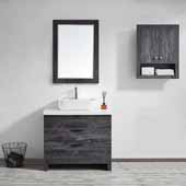 Spencer 36'' Single Sink Vanity Set in Suede Elegant Grey with Fine White Quartz Stone With Mirror, 36''W x 19-11/16''D x 31-1/8''H