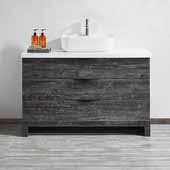 Spencer 48'' Single Sink Vanity Set in Suede Elegant Grey with Fine White Quartz Stone, 48''W x 19-11/16''D x 31-1/8''H