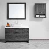 Spencer 48'' Single Sink Vanity Set in Suede Elegant Grey with Fine White Quartz Stone With Mirror, 48''W x 19-11/16''D x 31-1/8''H
