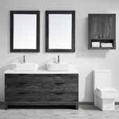 Spencer 60'' Double Sink Vanity Set in Suede Elegant Grey with Fine White Quartz Stone With Mirror, 59-3/16''W x 19-11/16''D x 31-1/8''H