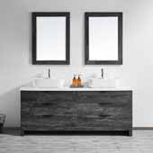 Spencer 72'' Double Sink Vanity Set in Suede Elegant Grey with Fine White Quartz Stone With Mirror, 72''W x 19-11/16''D x 31-1/8''H