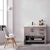 Bari 42'' Single Sink Vanity Set in Dark Grey Oak with Fine White Quartz Countertop, 42''W x 22-3/8''D x 34-1/8''H