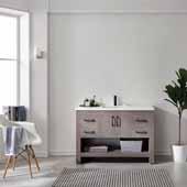 Bari 48'' Single Sink Vanity Set in Dark Grey Oak with Fine White Quartz Countertop, 51-3/16''W x 25-5/8''D x 39''H