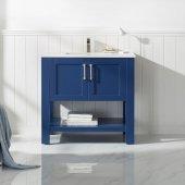Grayson 36'' Single Vanity in Jewelry Blue with Fine White Quartz Countertop and Undermount Rectangular Ceramic Basin, 36'' W x 22'' D x 33-7/8'' H