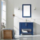 Grayson 36'' Single Vanity Set in Jewelry Blue with Fine White Quartz Countertop, Undermount Rectangular Ceramic Basin and Mirror, 36'' W x 22'' D x 33-7/8'' H