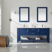 Grayson 72'' Double Vanity Set in Jewelry Blue with Fine White Quartz Countertop, (2) Undermount Rectangular Ceramic Basins and (2) Mirrors, 72'' W x 22'' D x 33-7/8'' H