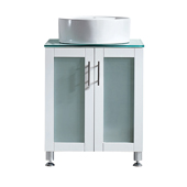 Tuscany 24'' Vanity Set In White With Glass Countertop, White Vessel Sink, 24-3/8''W x 22-3/16''D x 36-3/8''H