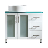 Tuscany 36'' Vanity Set In White With Glass Countertop, White Vessel Sink on Left Side, 36-3/8''W x 22-3/16''D x 36-3/8''H