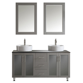 Tuscany 60'' Double Sink Vanity Set in Grey with (2) White Vessel Sinks, Glass Countertop and (2) Mirrors, 60-3/8''W x 22-3/16''D x 36-3/8''H