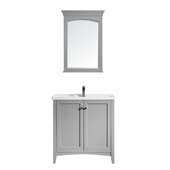 Asti 30'' Vanity Set In Grey With White Ceramic Countertop And Mirror, 32-5/16''W X 18-1/2''D X 33-3/8''H,