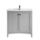 Asti 30'' Vanity Set In Grey With White Ceramic Countertop, 32-5/16''W X 18-1/2''D X 33-3/8''H,