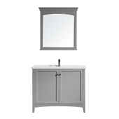 Asti 40'' Vanity Set In Grey With White Ceramic Countertop And Mirror, 39-13/16''W X 18-1/2''D X 33-3/8''H,