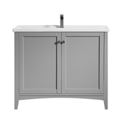 Asti 40'' Vanity Set In Grey With White Ceramic Countertop, 39-13/16''W X 18-1/2''D X 33-3/8''H,