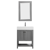 Pavia 28� Single Vanity Set In Grey With Acrylic Under-Mount Sink And Mirror, 27-5/8''W X 19-11/16''D X 36-3/16''H,