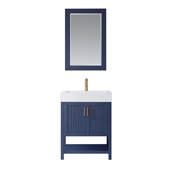 Pavia 28� Single Vanity Set In Royal Blue With Acrylic Under-Mount Sink And Mirror, 27-5/8''W X 19-11/16''D X 36-3/16''H,