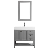 """Pavia 36"""" Single Vanity Set In Grey With Acrylic Under-Mount Sink And Mirror, 35-3/8''W X 19-11/16''D X 35-13/16''H,"""