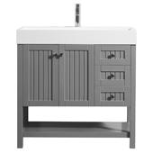 "Pavia 36"" Single Vanity Set In Grey With Acrylic Under-Mount Sink, 35-3/8''W X 19-11/16''D X 35-13/16''H,"