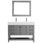 Pavia 48� Single Vanity Set In Grey With Acrylic Under-Mount Sink And Mirror, 47-3/16''W X 19-11/16''D X 35-13/16''H,