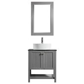 Modena 28� Vanity Set In Grey With Glass Countertop, White Vessel Sink And Mirror, 28''W x 19-7/8''D x 38''H