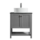 Modena 28� Vanity Set In Grey With Glass Countertop, White Vessel Sink, 28''W x 19-7/8''D x 38''H
