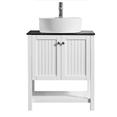 """Modena 28"""" Vanity Set In White With Glass Countertop, White Vessel Sink, 28''W x 19-7/8''D x 38''H"""
