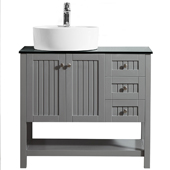 Modena 36� Vanity Set In Grey With Glass Countertop, White Vessel Sink, 35-13/16''W x 18-5/16''D x 38''H