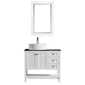Modena 36� Vanity Set In White With Glass Countertop, White Vessel Sink And Mirror, 35-13/16''W x 18-5/16''D x 38''H