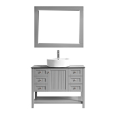 Modena 42� Vanity Set In Grey With Glass Countertop, White Vessel Sink And Mirror, 42''W x 19''D x 38''H