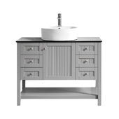Modena 42� Vanity Set In Grey With Glass Countertop, White Vessel Sink, 42''W x 19-7/8''D x 38''H