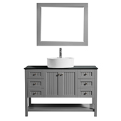Modena 48� Vanity Set In Grey With Glass Countertop, White Vessel Sink And Mirror, 47-5/8''W x 19-7/8''D x 38''H