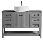 Modena 48� Vanity Set In Grey With Glass Countertop, White Vessel Sink, 47-5/8''W x 19-7/8''D x 38''H