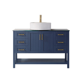 Modena 48� Vanity Set In Royal Blue With Glass Countertop, White Vessel Sink, 47-5/8''W x 19-7/8''D x 38''H