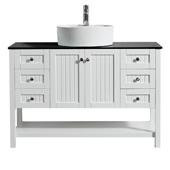 """Modena 48"""" Vanity Set In White With Glass Countertop, White Vessel Sink, 47-5/8''W x 19-7/8''D x 38''H"""
