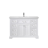 Lorna 48'' Single Vanity Set In White With Artificial Fine White Stone Countertop, 48''W X 22''D X 33-7/8''H,