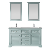 Lorna 60'' Double Vanity Set In Finnish Green With Artificial Fine White Stone Countertop And Mirror, 60''W X 22''D X 33-7/8''H,