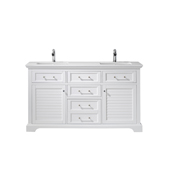 Lorna 60'' Double Vanity Set In White With Artificial Fine White Stone Countertop, 60''W X 22''D X 33-7/8''H,