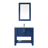 Grayson 36'' Single Vanity Set In Jewelry Blue With Artificial Fine White Stone Countertop And Mirror, 36''W X 22''D X 33-7/8''H,