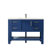 Grayson 48'' Single Vanity Set In Jewelry Blue With Artificial Fine White Stone Countertop, 48''W X 22''D X 33-7/8''H,