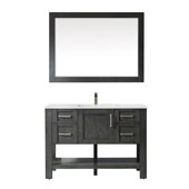 Grayson 48'' Single Vanity Set In Rust Black With Artificial Fine White Stone Countertop And Mirror, 48''W X 22''D X 33-7/8''H,