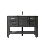 Grayson 48'' Single Vanity Set In Rust Black With Artificial Fine White Stone Countertop, 48''W X 22''D X 33-7/8''H,